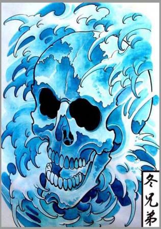 Эскизы татуировок - Череп с волнами