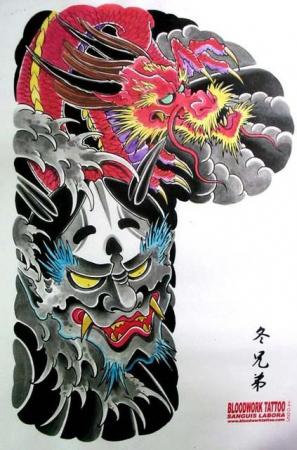 Эскизы татуировок - Два дракона