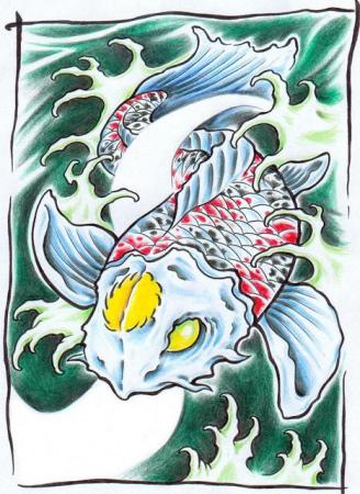 Эскизы татуировок — Рыба 4