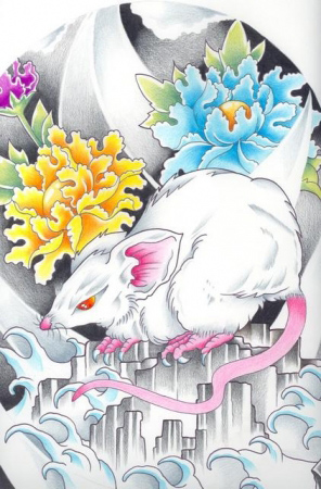 Эскизы татуировок - Мышь и цветы