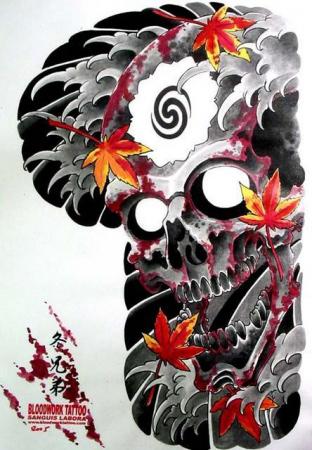 Эскизы татуировок - Череп с листьями