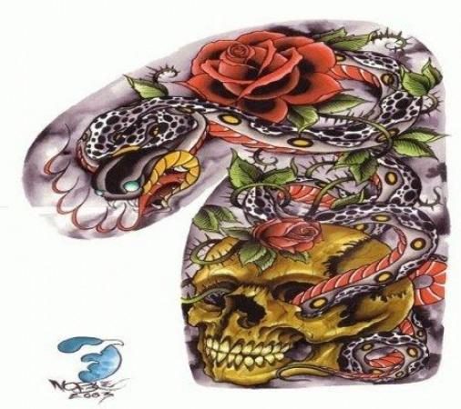 Эскизы татуировок — Змея в черепе