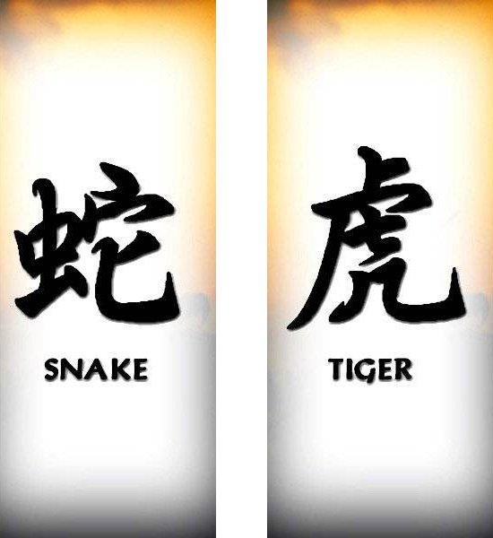 Татуировки иероглифы — Змея, Тигр