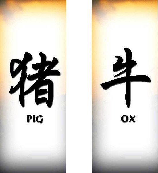 Татуировки иероглифы — Свинья, Бык