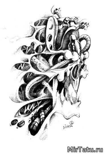 Эскизы татуировок — Биомеханика 15